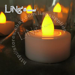 Wholesale-24pcs Yellow Led Candle Light Wedding Party Bar Halloween Christmas Festivals supplies