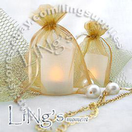 Free shipping-100pcs Gold Yellow 10*15cm Sheer Organza bag Wedding Favor Gift Bag Pouch-Hot Sell