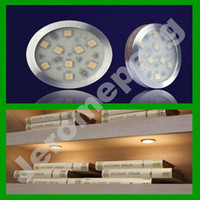 Wholesale DHL W SMD LED High Bright LM Under Cabinet Lighting Puck Lamp V A W LED Driver with a Switch ON OFF