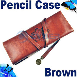 Wholesale New Fashion Moon Synthetic Vintage Leather Pencil Cosmetic Case Pen Pouch Brown