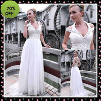 Wholesale Ready To Ship Special Design Evening Wedding Dresses White Halter Off The Shoulder Sheath Chiffon