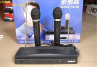 Wholesale hot Black Wireless Microphone Karaoke System Wireless Mic Receiver x V battery high quality