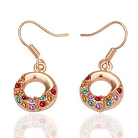 South American american independent party - New K Rose GOLD beautifully colored crystal earrings independent PP bag Pair