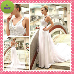 Wholesale In Stock Sexy V neck A line Evening Dresses White Spaghetti Fold Beaded Chiffon Party Dresses