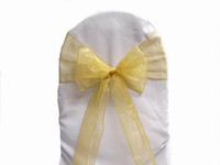 Wholesale 100 Gold Organza Sashes Chair Bow Wedding Party Banquet Shimmering High Quality New