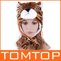 Wholesale H2744 Yellow Tiger Plush Warm Cap Solf warm Cartoon Animal caps winter hat for party festival kids