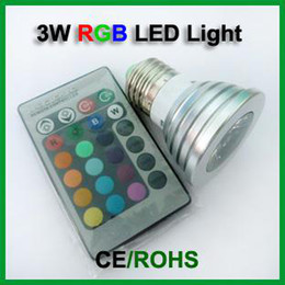100PCs 3W E27 LED RGB Spotlight remote controllable 16 color changing LED Bulb Lamp 85-265V Free Shipping by Fedex