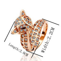 Women's beautiful foxes - Gorgeous fashion KRGP gold Beautiful charm crystal Top grade Fox ring jewelry best Christmas gifts