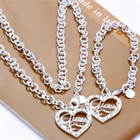 Wholesale Retail lowest price Christmas gift silver Oval Necklace Bracelet set S82