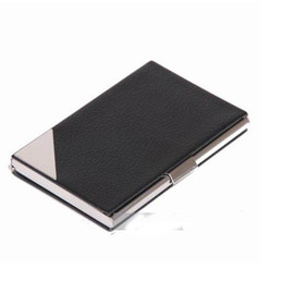 Stainless steel leather Business Card Case megnetic business card holders with gift box 30 pcs  lot