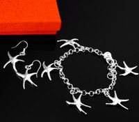 Wholesale Retail lowest price Christmas gift silver Oval Bracelet Earrings set S021