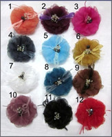 Wholesale 4 Gauze Fabric Flower Brooch with Crystal Wedding Hair Pin Headdress Flower Flower Brooches Free