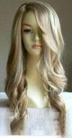 al por mayor peluca ondulada rubia pelo humano-mayorista de Estilo largo y rubio ondulado humanos peluca de cabello o pelucas