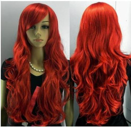Wholesale cheap Beautiful stylish human made red long hair wig & Wigs