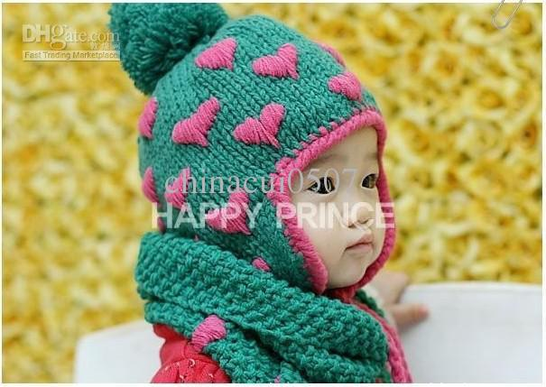 Children s Hat And Scarf Knitting Pattern : Knitted Scarf Hat / Cap with a Strawberry Pattern / Red Color Childrens ...