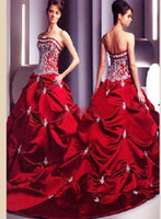 Wholesale Strapless Wedding Dresses A Line wedding dress Bride gown Designer Bridal Gowns red taffeta RQ9 B
