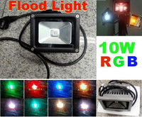 Wholesale 10pcs W RGB LED Flood Light landscape lighting Floodlight Remote Controller Waterproof IP65 Black
