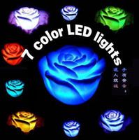 Wholesale 100pcs Changing Color LED Floating rose Flower Candle light Electronic lamp chirstmas freeshipping