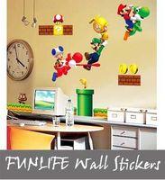 deco - funlife Super Mario bros Boy Room Kids Room Nursery Art Decal Mural Wall Sticker Deco