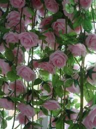 6pcs 2.2m Silk artificial rose flower garlands vine Fake Camellia Rattan for Wedding Party Home Decoration
