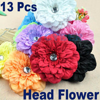 Red Hair Clips flannelette 13pcs Baby GIRL Lady Crystal Peony Head Flower Hair Clips Bow Fits Both baby And Lady Agood #1969