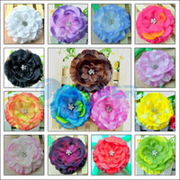 Purple Hair Clips polyester satin  15pcs Baby GIRL Lady Jewel Centered Head Flower Hair Clips Bow 15 type #1970