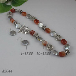 Elegant jewelry set red agate silver beads gray coin pearl necklace silver earring 5set lot A2044