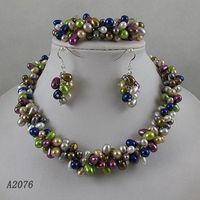 Wholesale Elegant pearl jewelry set AA Rows Multicolour fresh water pearl necklace bracelet earring A2076
