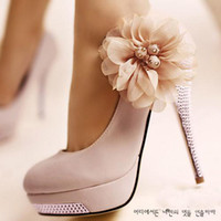 Wholesale White high heel bridal shoes lace flower wedding dress shoes beaded close toe lady shoes