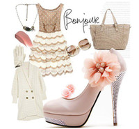 Wholesale White high heel bridal shoes lace flower wedding dress shoes beaded close toe lady shoes