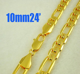 New style 24K Gold plated Men's jewelry 10mm Figaro Necklace 24inch 10pcs Hot