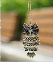 Celtic Women's Animal Free shipping promotion best selling casting owls necklace vintage antique jewelry