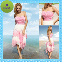 Wholesale Ready To Ship New Evening Dresses Party Dress Designer Chiffon Pink Strapless Tea length