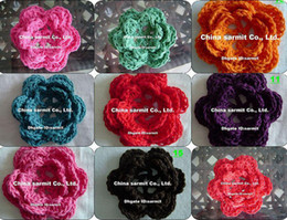 Wholesale sarmit store women s clothing accseeories handmade colourful flowers crochet flowers dress accessory
