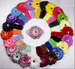 Wholesale 100pcs Crochet Headbands hat cs Gerbera Flowers Baby Hair bows Headbows hot selling