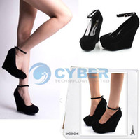 Women Black Wedges Fashion Sexy Lady Platform Wedge Women's High Heels Buckle Shoes For Christmas #3227