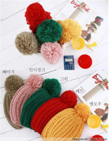 Wholesale 100pcs beanie crochet knit beret hat cap barret cloche women Woven ball hats Beanies Skullcaps
