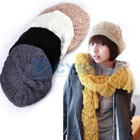 Wholesale Women Beret Braided Baggy Beanie Crochet Hat Ski Cap Colors available