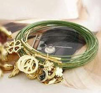 Wholesale Multilayer bracelet with Four Leaf Clover peace sign wing charm bracelet