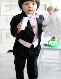 Wholesale Kid Complete Designer Boy Wedding Suit Boys Attire Custom made Jacket Pants Tie Vest F61