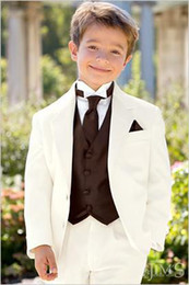 Wholesale Kid Complete Designer Junior Boy Wedding Suit Boys Attire Custom made Jacket Pants Tie Vest F74