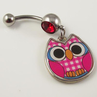 belly earrings - 12pcs belly ring with fashion night owl pendant bird body piercing jewelry earring