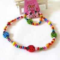 Bracelet & Necklace Celtic Gift Children jewelry Wood beads kids necklace bracelet set