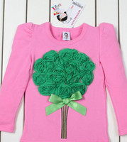 Wholesale B2W2 Girls T shirts baby D flowers t shirt girls kids long sleeve Jumpers tops