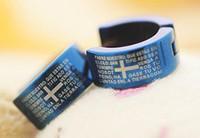 Men's bible earrings - Cool Pair Stainless Steel Bible Cross Hoop Men Earrings