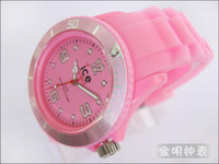 Wholesale pink ICE Solid Watch Silicone strap Solid Ice Multicolor dial scale pointer jelly watch
