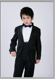 Wholesale Kid New Style Junior Boy Wedding Suit Boys Attire Custom made Jacket Pants Tie Girdle F85