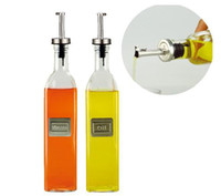 Wholesale Cruet olive oil amp vinegar bottle set Seasoning Pot glass body and stainless steel mouth Europe d