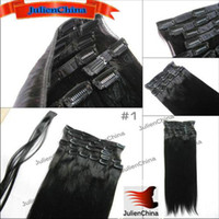 Wholesale Clip In Hair Extensions Indian Remy Hair g set Sets Silky Straight inch Color