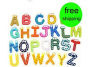 Wholesale 30 Set Children s creative gifts toys wooden magnetic stickers wooden alphabet fridge magnets